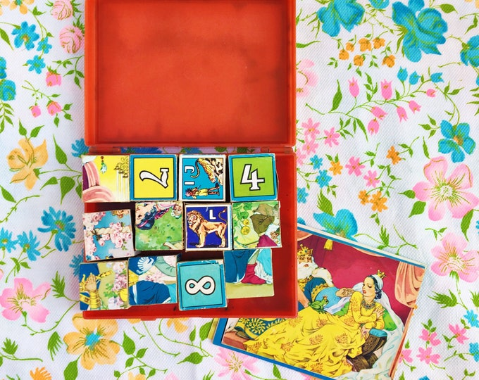 Vintage 1950s ABC Blocks and Case, Vintage Hermann Eichhorn ABCs Numbers Blocks with Pictures, 1950s West German Children's Puzzle Blocks