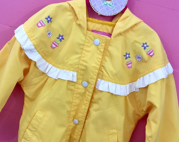 Vintage 1990s Little Girl Jacket, Size 4T Girls Jacket, Bright Yellow Spring Jacket with Flowers, Vintage 4T Girls Light Jacket