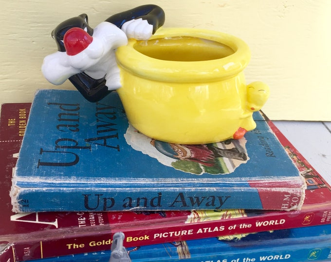 Vintage Sylvester the Cat Planter, Sylvester and Tweety Bird Planter, Vintage Looney Tunes Collectible