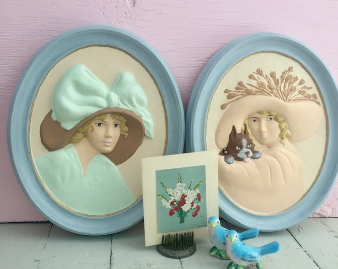 Vintage Lady Cameo Wall Plaques, Set of Two, Vintage Fashion Decor, Vintage Wall Plaques, Vintage Fashion Wall Decor, Pastel Wall Decor