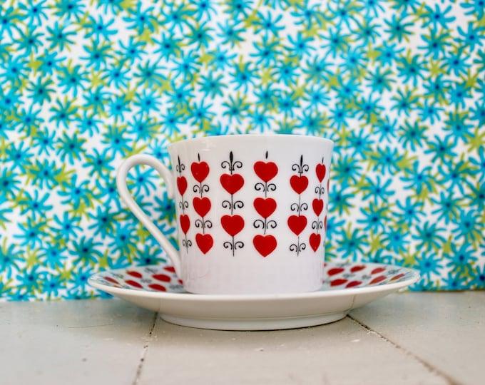 Vintage 1960s Relpo Valentine Queen of Hearts Teacup and Saucer, Vintage Valentine's Decor, Vintage Heart Kitchen Decor