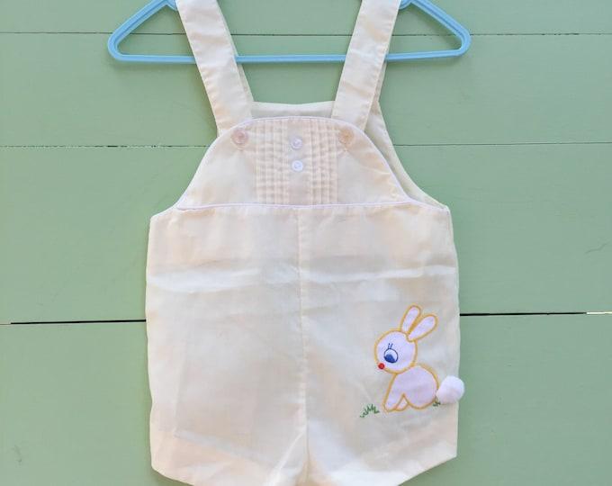 Vintage Baby Boy Romper, Size 3-6 months, Vintage Baby Boy Easter Outfit, Baby Boy Bunny Outfit, Vintage Baby Boy Cotton Overalls