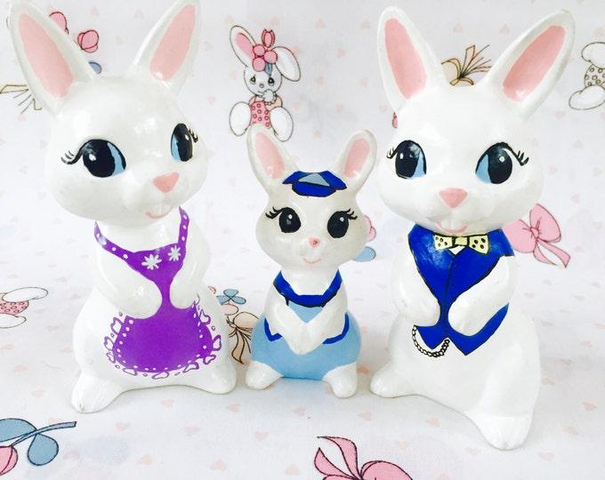 Vintage Easter Knick Knacks, Ceramic Rabbit Family, Vintage Easter Decor, Ceramic Easter Decorations, Vintage Easter Figurine
