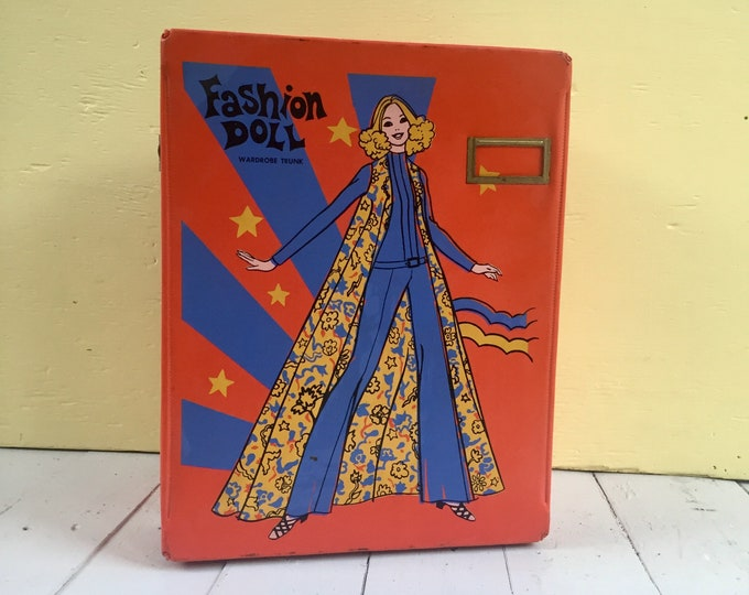 Vintage 1970s Barbie Carrying Case, Vintage Barbie Case, Vintage Barbie Fashion Trunk, Vintage Barbie Accessories