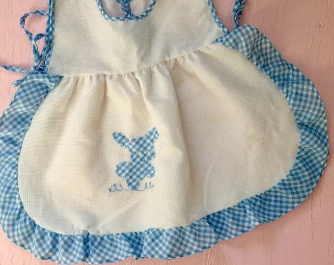 Vintage Baby Girl Pinafore, Vintage Easter Pinafore, Baby Girl Size 12 to 18 months, Vintage Bunny Pinafore, Vintage Baby Apron