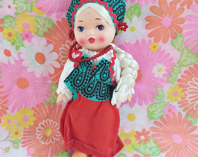 Vintage Russian Baby Doll, Vintage Gypsy Baby Doll, Gift for Child, Vintage International Baby Doll, Vintage Collectors Doll, 10 inch doll