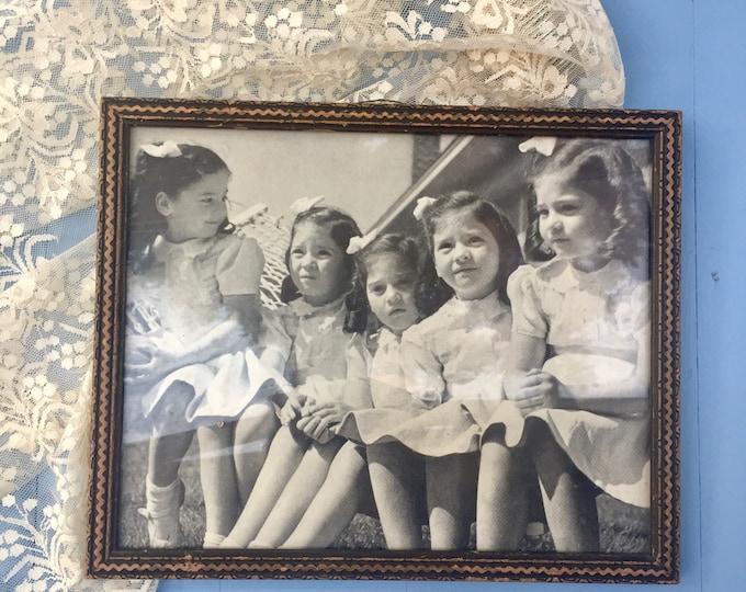 Vintage 1940s Dionne Quintuplets Photo, 40s Ephemera, Vintage Dionne Quintuplets Picture