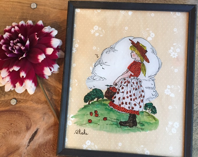 Vintage Mixed Media Picture, 1930s Mixed Media Picture, Vintage Blake Picture, Vintage Little Girl Bedroom Picture, Prairie Girl Picture