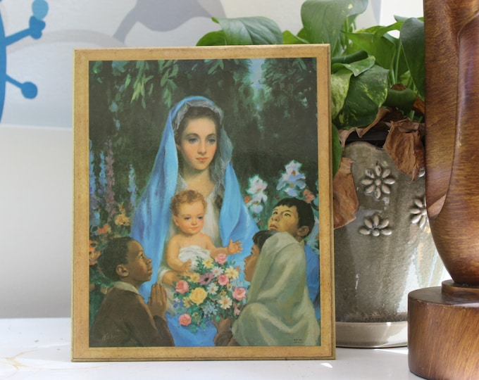 Vintage Blessed Mother Mary Picture, Vintage Virgin Mary Religious Print, Baby Baptism Christening Gift, Nursery Decor
