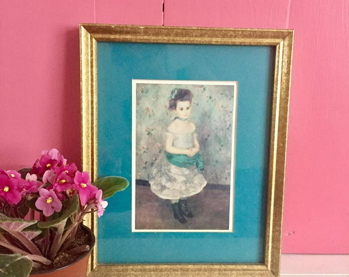 Vintage 1990s Framed Print Portrait of Jeanne Durand-Ruel 1876, Late 1800s French Little Girl Framed Print, Pierre-Auguste Renoir