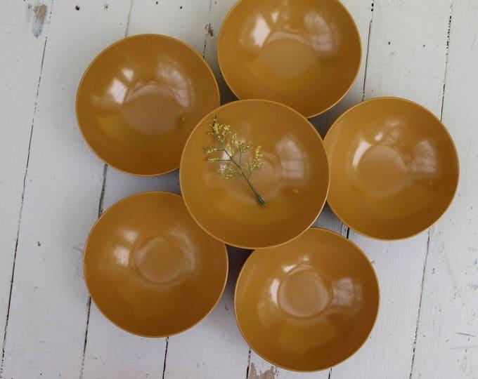 Vintage Melamine Bowls, Set of Seven, Harvest Gold Melamine Bowls, Mustard Yellow Melamine Bowls, Mid Century Bowls