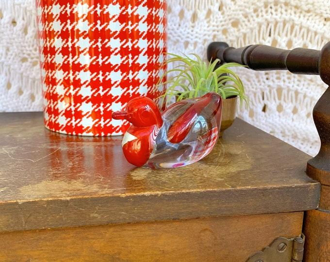 Vintage Art Glass Bird, Vintage Bird Paperweight, Vintage Hand blown Glass Bird