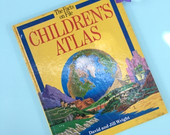Atlas reference book etsy vintage 1980s childrens atlas book vintage childrens world map book vintage homeschool reference books gumiabroncs Image collections