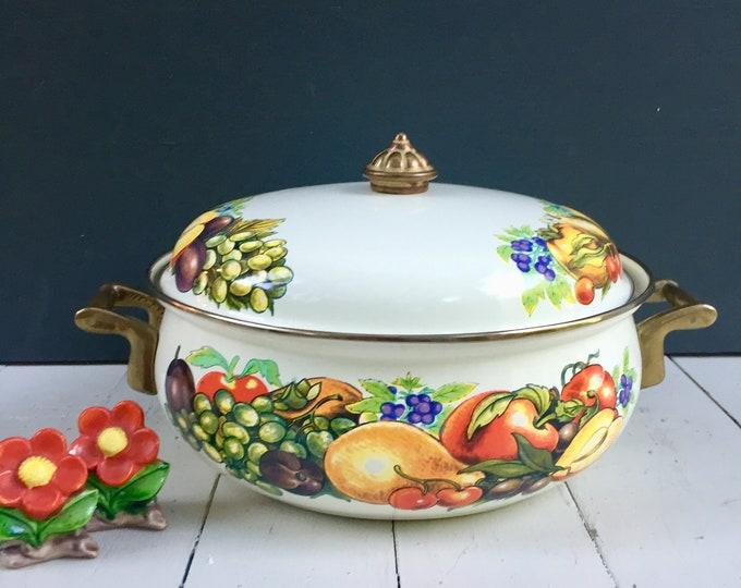 Vintage Enamelware Pan, Vintage Enamelware Covered Pan, Vintage Casserole Dish, Vintage Fruit Pattern Enamelware