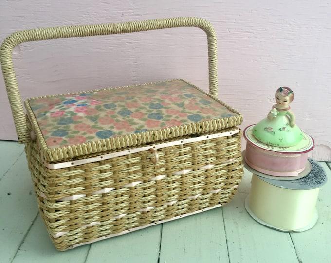 Vintage 1960s Dritz Sewing Basket, Vintage Sewing Basket, Vintage Sewing Box, Floral Sewing Basket