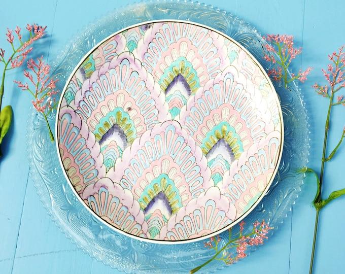 Vintage Art Decor Style Plate, Art Deco Decorative Plate, Chinese Decorative Plate, Vintage Pastel Home Decor