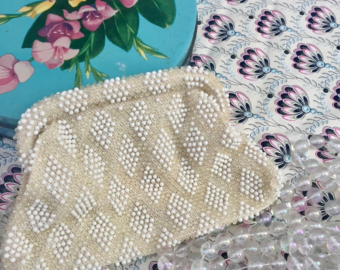 Vintage Corde Bead Clutch, Mid Century Handbag, Vintage Bridal Clutch, Vintage White Beaded Purse, Vintage Beaded Bag