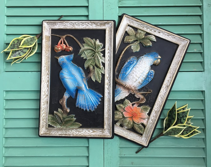 Vintage Blue Bird Picture, Pair of Vintage Bird Pictures, Bird and Flower Pictures, Vintage Bird Wall Hanging