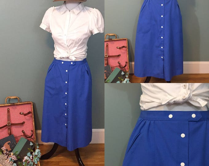 Vintage 1960s Koret Midi-Skirt Women's Size 6, Vintage Blue Summer Skirt, 1960s Skirt White Snap Sailor Style