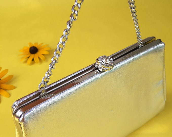 Vintage 1960s Silver Handbag with Jeweled Clasp, Vintage Silver Evening Bag, Vintage Silver Purse
