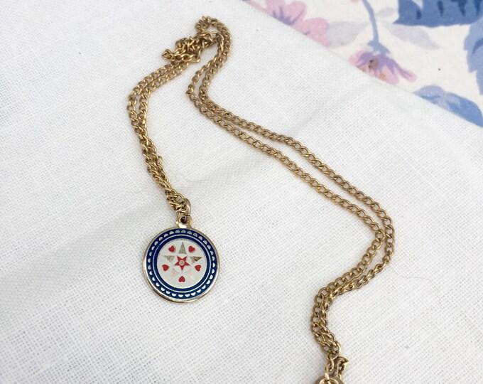 Vintage Hex Necklace, Star Heart Hex Necklace, Vintage Pendant Necklace
