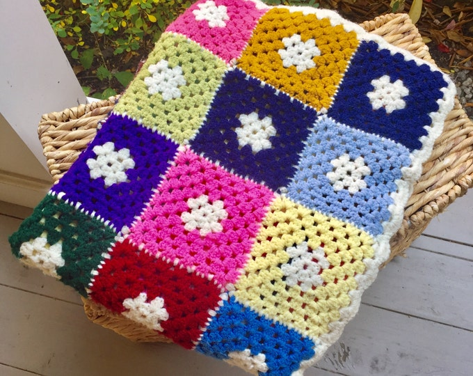 Vintage Granny Square Afghan Crocheted Blanket, Multi Colored Blanket, 60 X 40 Blanket, Display Blanket