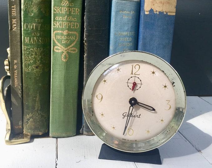 Vintage Gilbert Alarm Clock, Vintage Atomic Alarm Clock, Retro Alarm Clock, Vintage Silver Alarm Clock