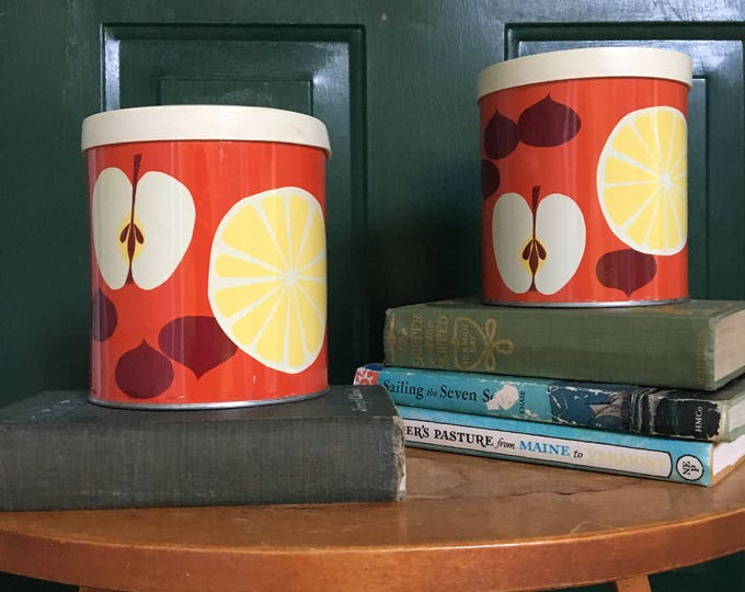 Vintage Retro Tin Canister Set, Mod Canisters, Retro Kitchen Decor, Fruit Themed Canister Set, 1960s Canister