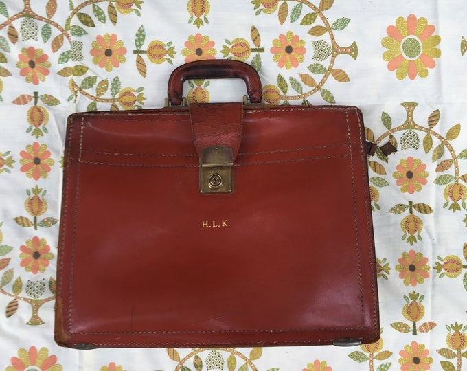 Vintage Rexbill Cowhide Leather Briefcase, 1950s Leather Briefcase, Mid Century Briefcase, Vintage Office Supplies