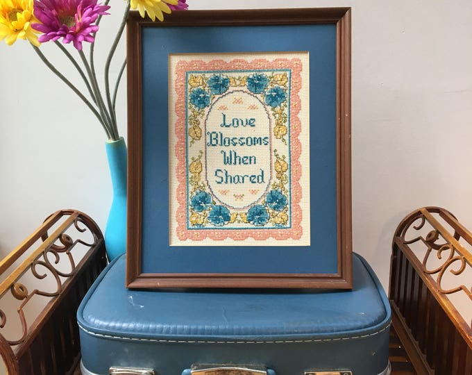 Vintage Cross-Stitch Framed Floral Picture with Quote, Vintage Framed Needlepoint Picture