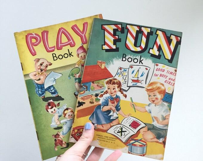 Vintage 1950s Children's Activity Book, Set of Two, 1950s Children's Books, 1950s Ephemera, Mid Century Children's Book