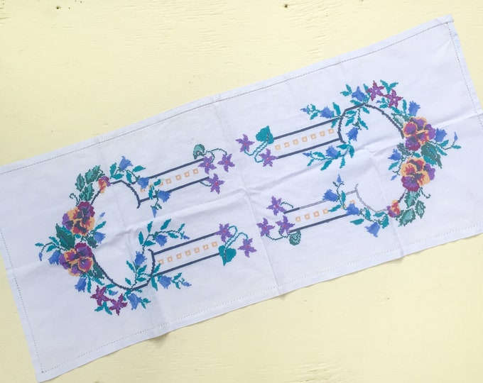 Vintage Cross-Stitch Dresser Runner, Vintage Embroidered Vanity Runner, Vintage Floral Embroidered Linen