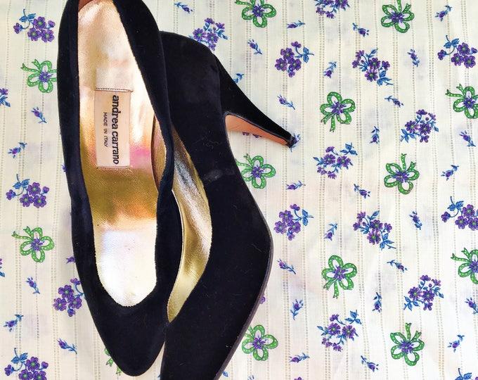 Vintage Andrea Carrano Black Velvet Pumps, Women's Size 7.5, Vintage Italian Black Velvet Pumps, Black Velvet Heels