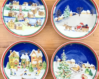 vintage christmas plates set of four vintage handpainted christmas plates decorative christmas plates vintage christmas decor - Decorative Christmas Plates