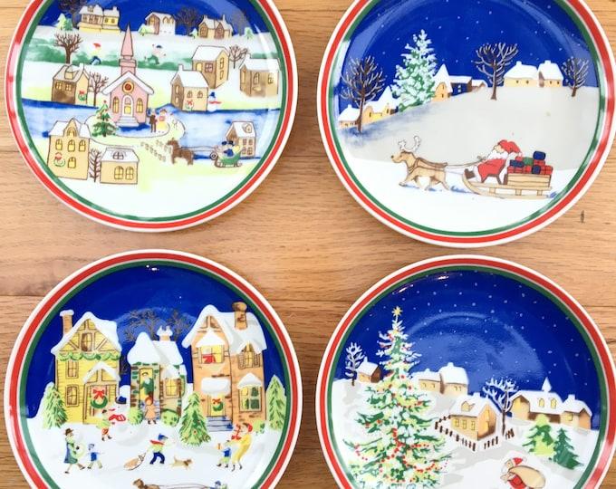 Vintage Christmas Plates, Set of Four, Vintage Handpainted Christmas Plates, Decorative Christmas Plates, Vintage Christmas Decor