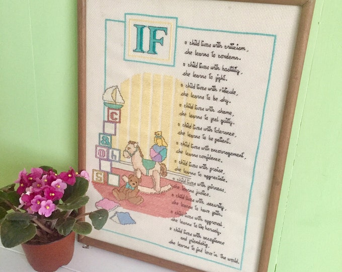 Vintage Framed Needlepoint Children's Quote Cross Stitch, Glass Framed Crewel, Embroidery Framed Wall Hanging, Vintage Baby Nursery Decor