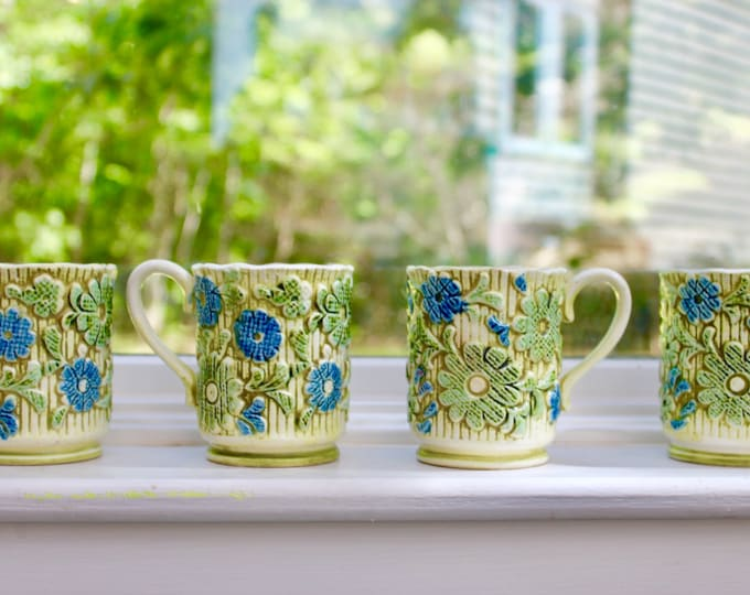Vintage 1960s Flower Power Mugs, Set of Four, Vintage Floral Coffee Mugs