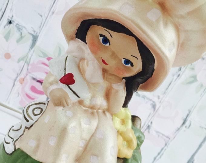 Vintage 1970s Lamp, Little Girls Room Lamp, Kitschy Girls Room Decor, Vintage Ceramic Holly Hobbie Lamp, Vintage Girls Room Decor