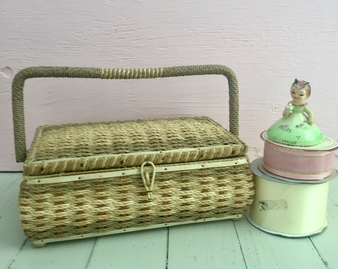 Vintage 1960s Sewing Basket, Vintage Sewing Basket, Vintage Sewing Box, Wicker Sewing Basket