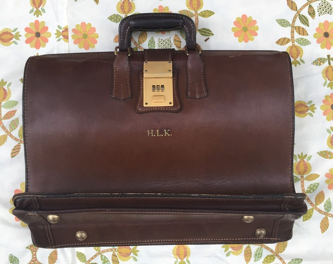 Vintage Leather Briefcase, 1950s Leather Briefcase, Mid Century Briefcase, Vintage Office Supplies