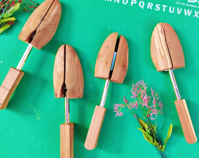 Vintage Shoe Forms, Set of Four, Wooden Shoe Forms, Vintage Shoe Shapers, Wooden Shoe Stretchers