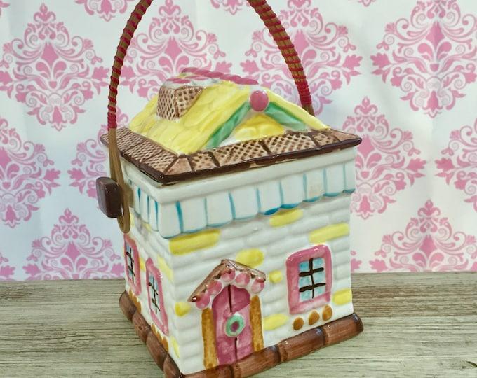 Vintage Ceramic Cookie Jar, Ceramic Biscuit Basket Jar, Gingerbread House Cookie Jar, Christmas Cookie Jar, Gift for Her, Cookie Display