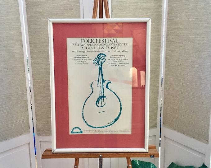 Vintage 1980s Folk Festival Poster, Vintage Framed Folk Festival Poster, Vintage Maine Poster, Vintage 1980s Festival Poster