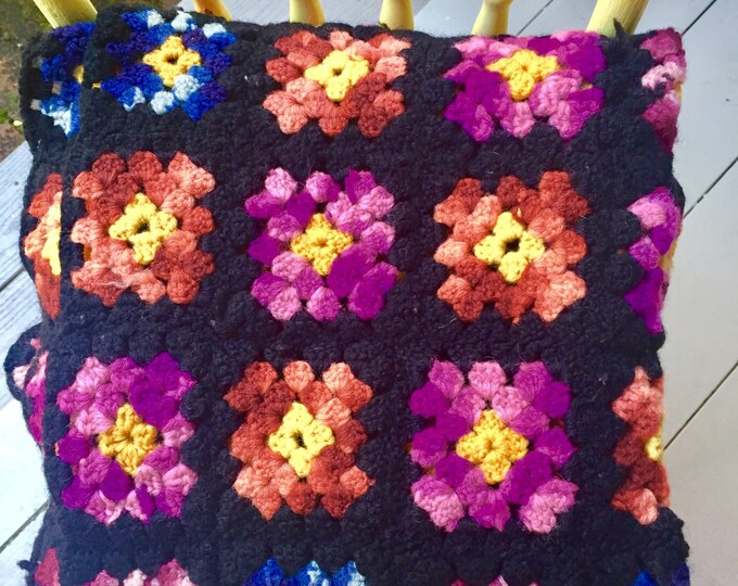 Vintage Afghan Blanket Granny Square Black Multi Colored, Crocheted Blanket Throw, 46.5 X 44 Blanket, Christmas Gift, Gift for Her