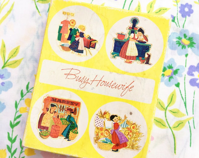 "Vintage Box of Blank Greeting Cards, Vintage Current Greeting Cards, Vintage ""Busy Housewife"" Cards, Vintage Ephemera"