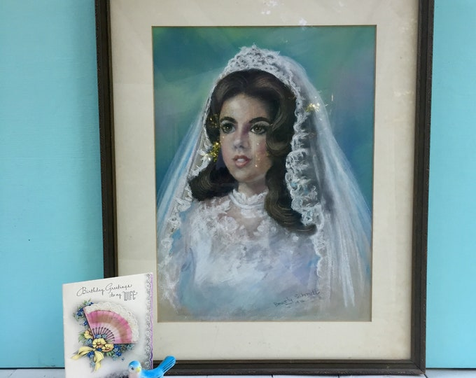 Vintage Original Portrait Painting, Vintage Bride Portrait Painting, 1970s Portrait Painting, 1970s Art Work, Vintage Wedding Decor