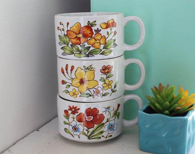 Vintage Soup Mugs, Set of Three, Vintage Stacking Mugs, Retro Mugs, Vintage Coffee Mugs, Floral Mugs