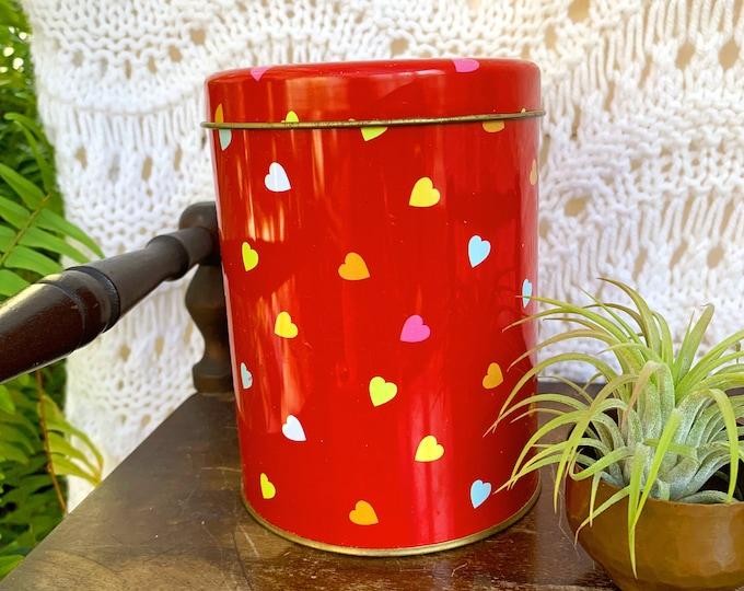 Vintage Valentine's Tin Canister, Vintage Valentine's Decor, Vintage Storage