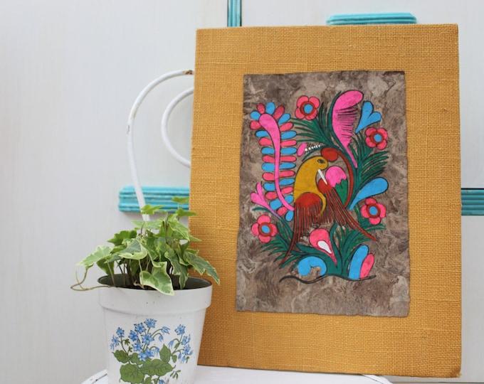 Vintage Amate Bark Painting, Vintage Canvas Painting, Vintage Mexican Painting, Vintage Boho Chic Painting, Vintage Original Painting