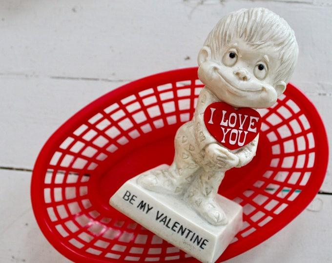 """1970s """"Be My Valentine"""" Statue, Vintage Valentine's Figurine, Russ Berrie Figurine, Retro Valentine's Day Gift, Vintage Valentine's Gift"""